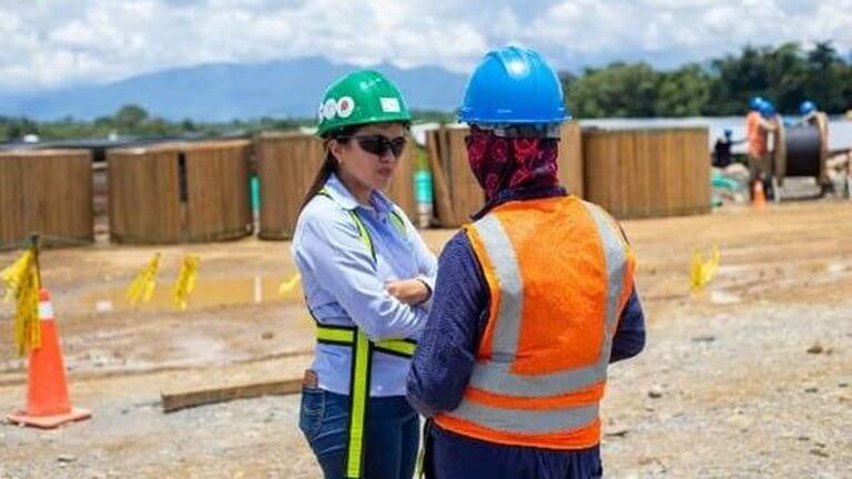 women working at construction site