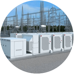 Battery storage containers in front of power station